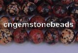 COB662 15.5 inches 8mm round red snowflake obsidian beads
