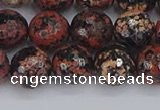 COB679 15.5 inches 10mm faceted round red snowflake obsidian beads