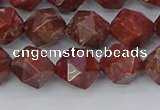 COJ1008 15.5 inches 10mm faceted nuggets pomegranate jasper beads