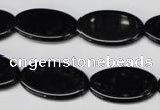 CON38 15.5 inches 14*24mm oval black onyx gemstone beads
