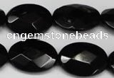 CON67 15.5 inches 18*25mm faceted oval black onyx gemstone beads
