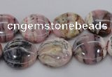 COP1260 15.5 inches 10mm flat round natural pink opal gemstone beads