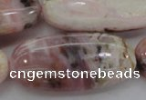 COP1284 15.5 inches 30*60mm oval natural pink opal gemstone beads