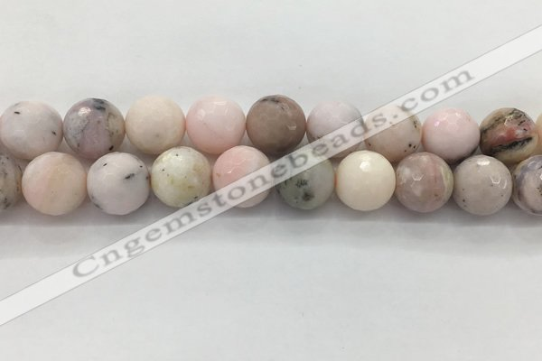 COP1716 15.5 inches 16mm faceted round natural pink opal beads
