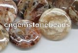 COP308 15.5 inches 22mm flat round brandy opal gemstone beads wholesale