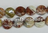COP309 15.5 inches 12mm flat round brandy opal gemstone beads wholesale