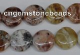 COP310 15.5 inches 15mm flat round brandy opal gemstone beads wholesale