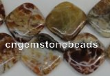 COP325 15.5 inches 20*20mm diamond brandy opal gemstone beads wholesale