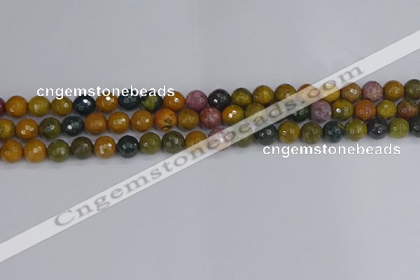COS202 15.5 inches 8mm faceted round ocean jasper beads