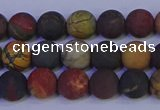 CPJ502 15.5 inches 8mm round matte picasso jasper beads wholesale