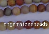 CPJ511 15.5 inches 6mm round matte polychrome jasper beads wholeasle