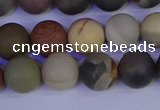 CPJ513 15.5 inches 10mm round matte polychrome jasper beads wholeasle