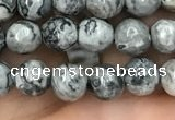 CPJ641 15.5 inches 6mm faceted round grey picture jasper beads