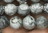 CPJ642 15.5 inches 8mm faceted round grey picture jasper beads