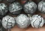 CPJ643 15.5 inches 10mm faceted round grey picture jasper beads