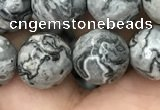 CPJ644 15.5 inches 12mm faceted round grey picture jasper beads