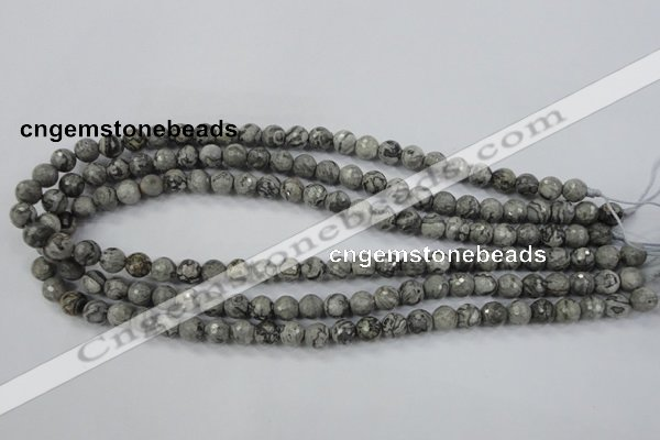 CPT112 15.5 inches 8mm faceted round grey picture jasper beads