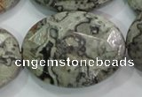 CPT130 15.5 inches 30*40mm faceted oval grey picture jasper beads