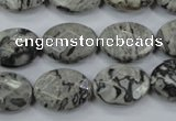 CPT145 15.5 inches 13*18mm faceted oval grey picture jasper beads