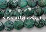 CPT232 15.5 inches 12mm faceted coin green picture jasper beads
