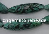 CPT309 15.5 inches 12*40mm rice green picture jasper beads