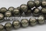 CPY07 16 inches 10mm round pyrite gemstone beads wholesale