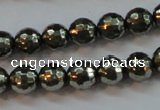 CPY106 15.5 inches 6mm faceted round pyrite gemstone beads wholesale