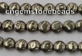 CPY220 15.5 inches 8mm flat round pyrite gemstone beads wholesale