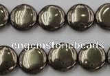 CPY223 15.5 inches 14mm flat round pyrite gemstone beads wholesale