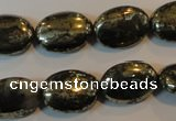 CPY312 15.5 inches 13*18mm oval pyrite gemstone beads wholesale