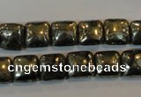 CPY316 15.5 inches 10*10mm square pyrite gemstone beads wholesale