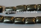 CPY321 15.5 inches 10*14mm rectangle pyrite gemstone beads wholesale
