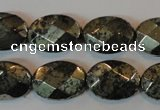 CPY344 15.5 inches 13*18mm faceted oval pyrite gemstone beads wholesale