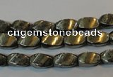 CPY345 15.5 inches 6*10mm twisted rice pyrite gemstone beads wholesale