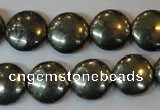 CPY36 16 inches 14mm coin pyrite gemstone beads wholesale