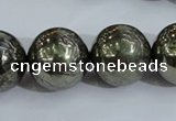 CPY408 15.5 inches 18mm round pyrite gemstone beads wholesale