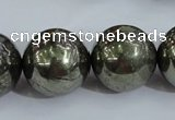 CPY409 15.5 inches 20mm round pyrite gemstone beads wholesale