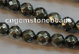 CPY50 16 inches 6mm faceted round pyrite gemstone beads wholesale