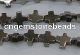 CPY582 15.5 inches 11*11mm cross pyrite gemstone beads wholesale
