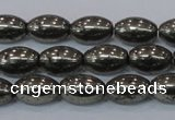 CPY599 15.5 inches 8*12mm rice pyrite gemstone beads wholesale