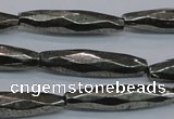 CPY604 15.5 inches 7*30mm faceted rice pyrite gemstone beads