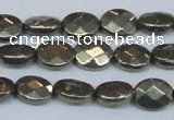 CPY631 15.5 inches 8*10mm faceted oval pyrite gemstone beads