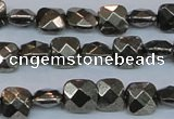 CPY635 15.5 inches 8*8mm faceted square pyrite gemstone beads