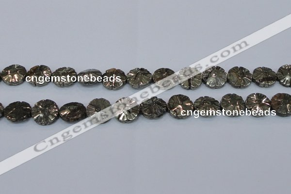 CPY660 15.5 inches 15mm carved flower pyrite gemstone beads