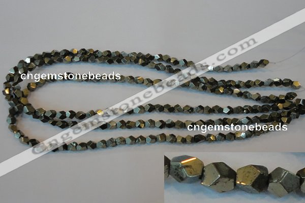 CPY76 15.5 inches 5-6mm faceted nuggets pyrite gemstone beads