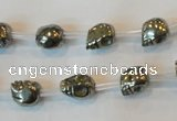 CPY83 15.5 inches 8mm carved skull pyrite gemstone beads wholesale