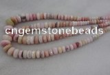 CRB1126 15.5 inches 5*8mm - 9*18mm faceted rondelle pink opal beads
