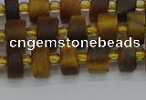CRB1252 15.5 inches 5*8mm tyre matte yellow tiger eye beads