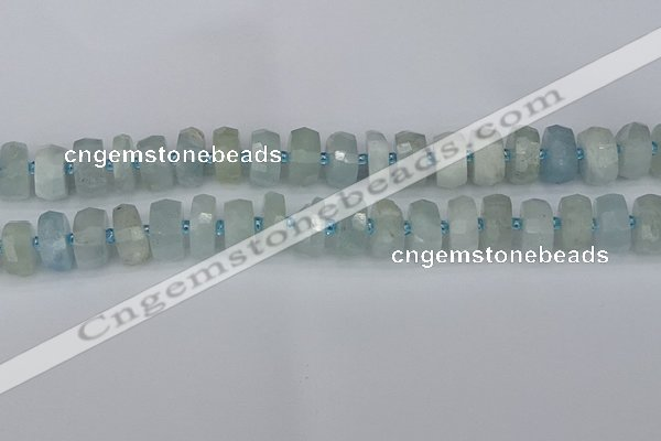 CRB1312 15.5 inches 6*12mm faceted rondelle aquamarine beads