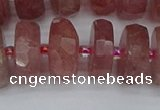 CRB1345 15.5 inches 8*18mm faceted rondelle strawberry quartz beads